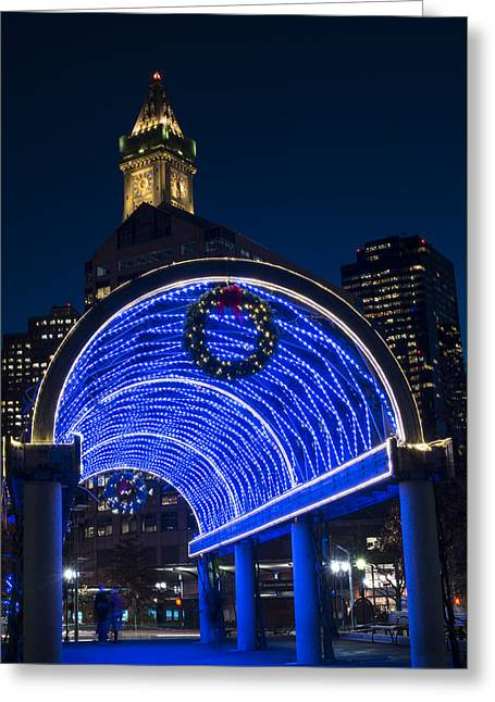Christopher Columbus Park Trellis Lit Up In Blue For Christmas Boston Ma Greeting Card by Toby McGuire