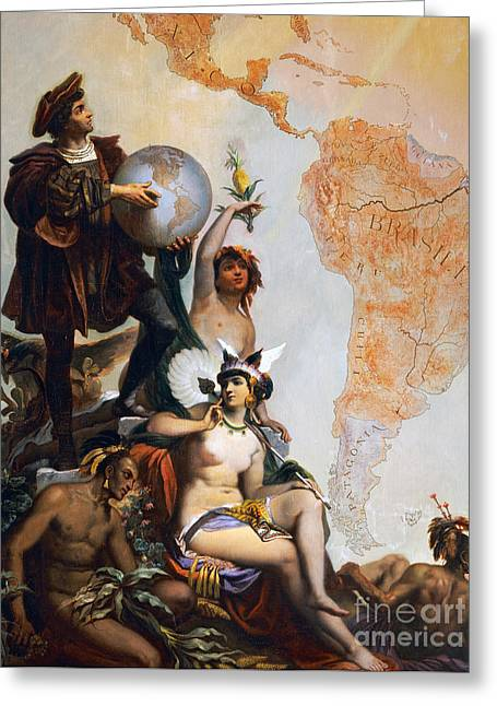Christopher Columbus Greeting Card by Peter Johann Nepomuk Geiger