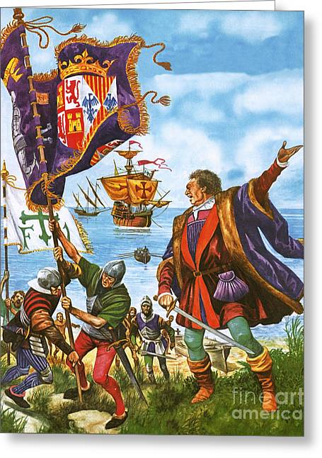 Christopher Columbus Planting The Spanish Royal Standard On The Newly Found Land Of America Greeting Card by Peter Jackson