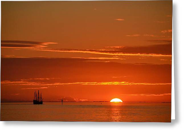 Christopher Columbus Replica Wooden Sailing Ship Nina Sails Off Into The Sunset Greeting Card by Jeff at JSJ Photography