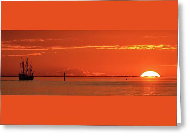 Christopher Columbus Sailing Ship Nina Sails Off Into The Sunset Panoramic Greeting Card