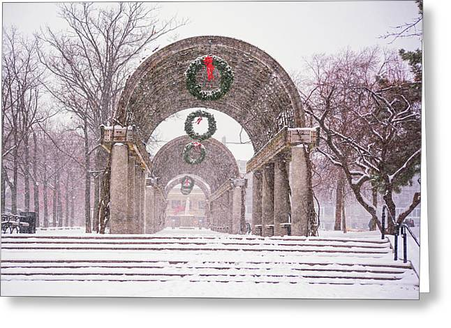 Christopher Columbus Trellis Snowy Day Boston Ma Greeting Card by Toby McGuire