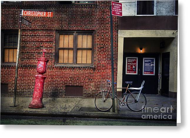 Christopher St. Bicycle Greeting Card by Craig J Satterlee