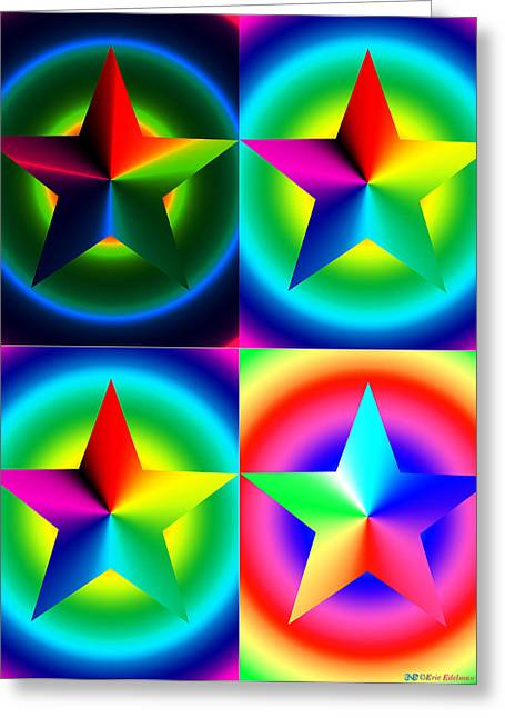 Chromatic Star Quartet With Ring Gradients Greeting Card