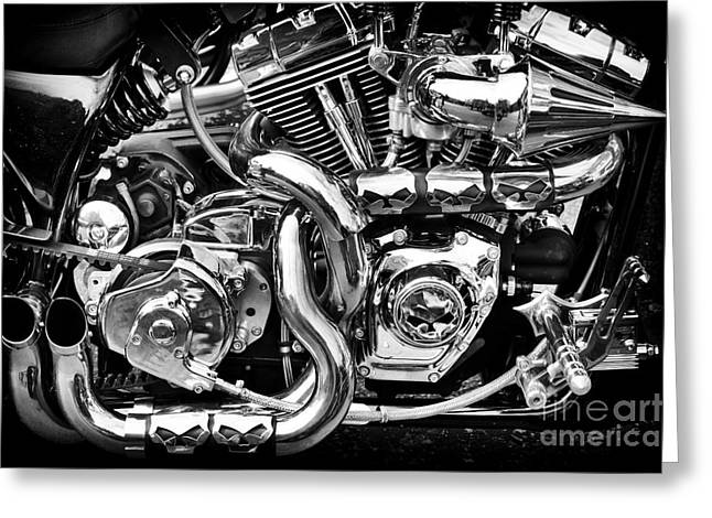 Chrome And Skulls Greeting Card by Tim Gainey