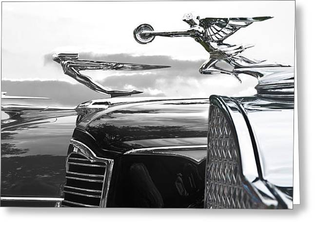 Chrome Hood Ornaments Vintage Cars Greeting Card