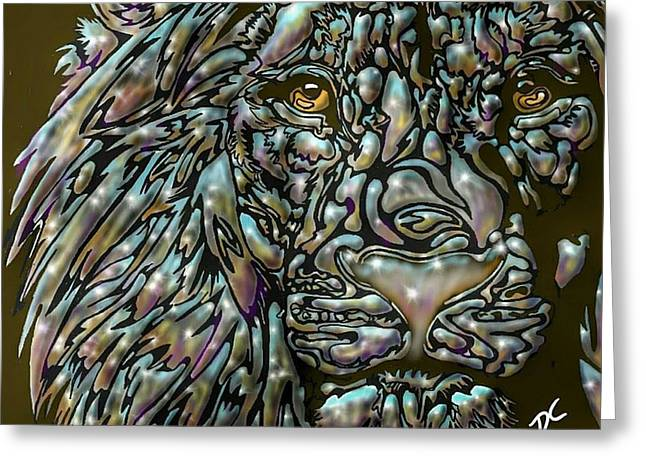 Greeting Card featuring the digital art Chrome Lion by Darren Cannell