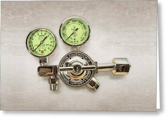 Chrome Regulator Gauges Greeting Card
