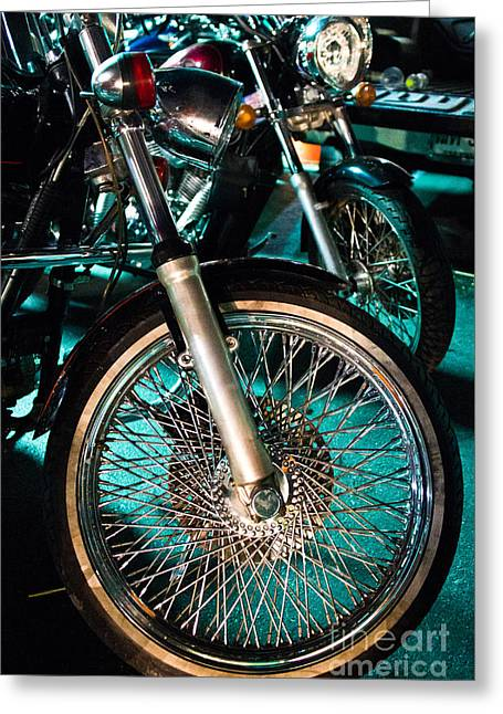Chrome Rim And Front Fork Of Vintage Style Motorcycle Greeting Card by Jason Rosette