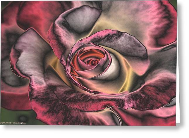 Greeting Card featuring the digital art Chrome Rose 368 by Brian Gryphon