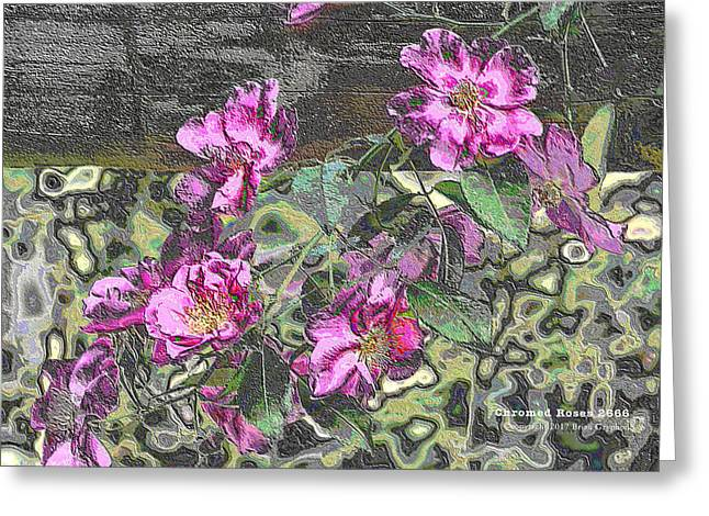Greeting Card featuring the digital art Chrome Roses 2666 by Brian Gryphon