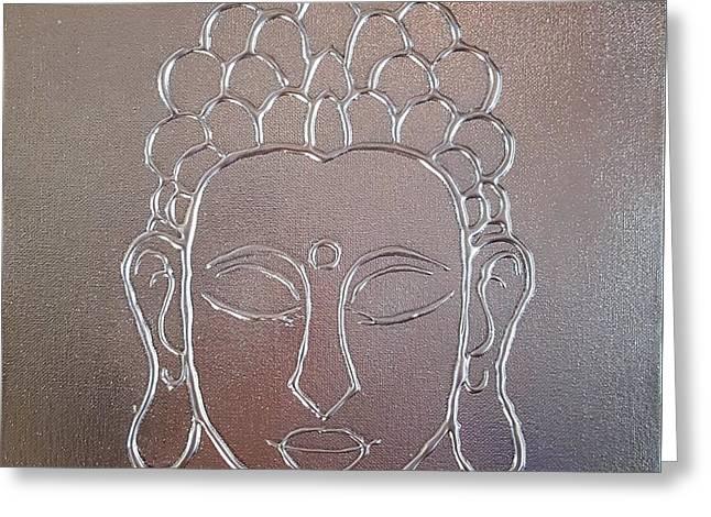 Chromed Buddha Greeting Card by Carole Ray