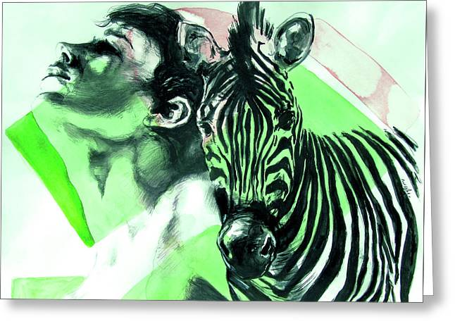 Greeting Card featuring the painting Chronickles Of Zebra Boy   by Rene Capone