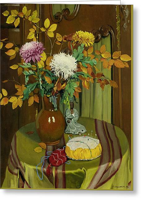Chrysanthemum And Autumn Foliage Greeting Card
