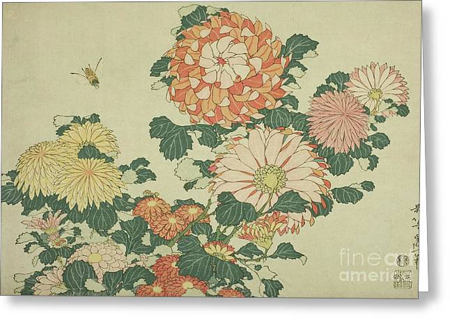 Chrysanthemums And Bee Greeting Card by Hokusai
