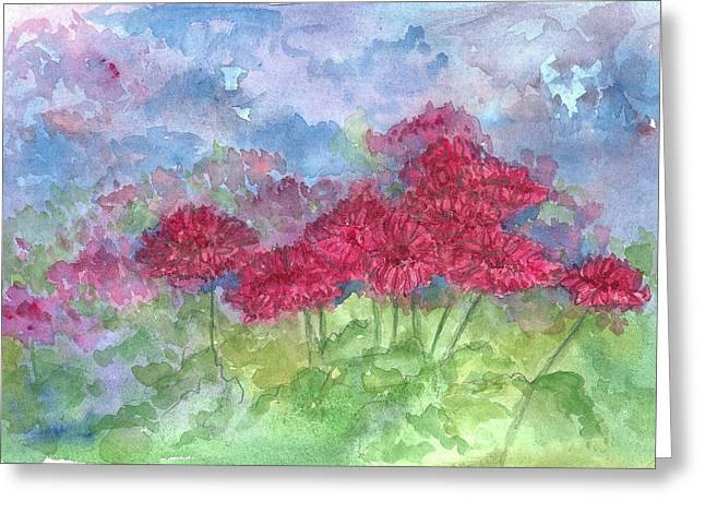 Greeting Card featuring the painting Chrysanthemums by Cathie Richardson