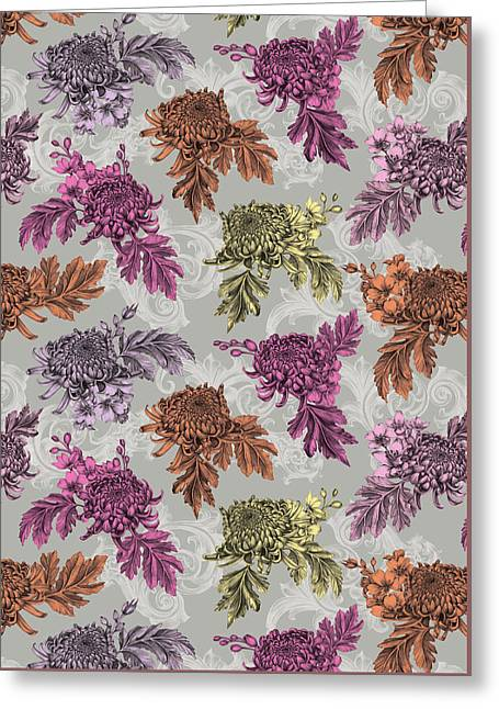 Chrysanthemums Color Repeat Greeting Card by Stephanie Davies