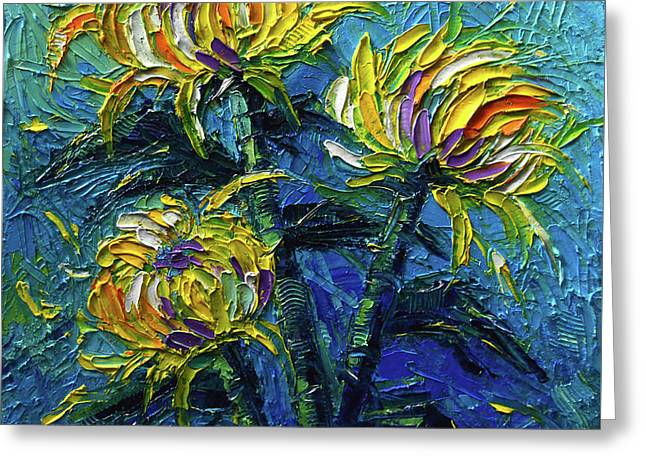 Chrysanthemums Etude Greeting Card by Mona Edulesco