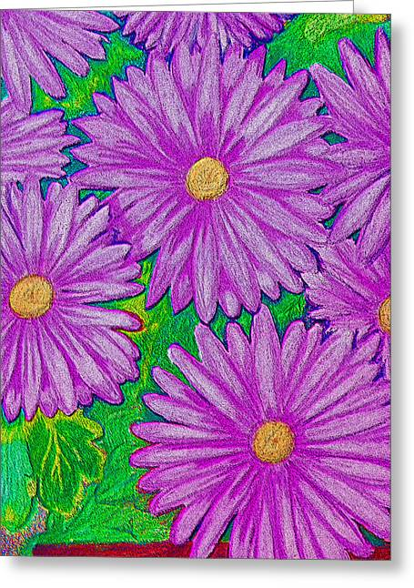 Chrysanthemums Pink Greeting Card by Adrienne Talbot
