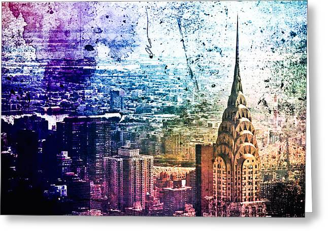 Chrysler Building - Colorful - New York City Greeting Card by Vivienne Gucwa