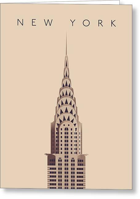 Chrysler Building - Vintage Greeting Card by Ivan Krpan