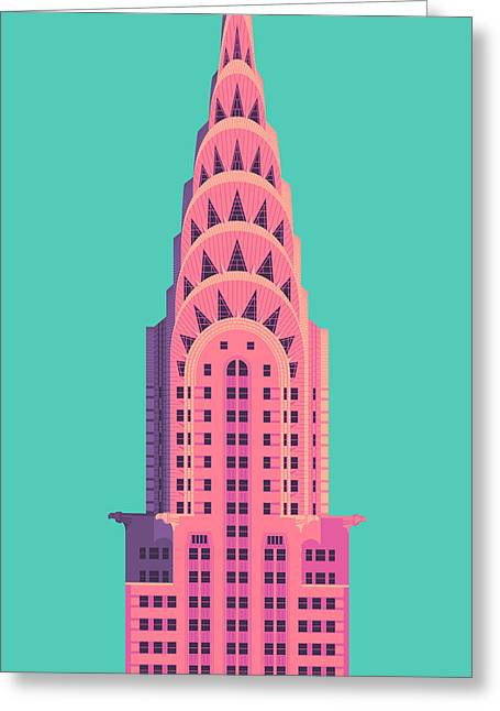 Chrysler Building - Green Greeting Card
