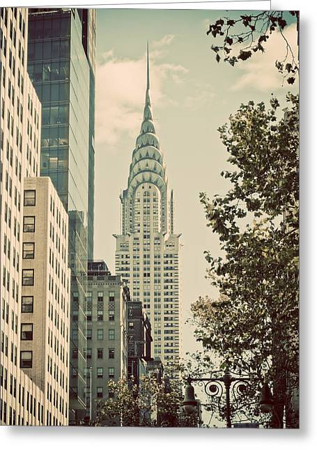 Yellow Dog And Truck Greeting Cards - Chrysler building Mid Town Greeting Card by Darren Martin