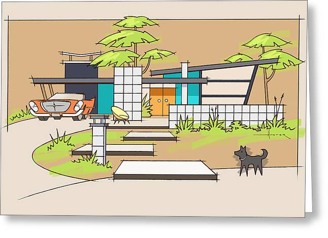Chrysler With Black Dog, A Mid-century Home Greeting Card