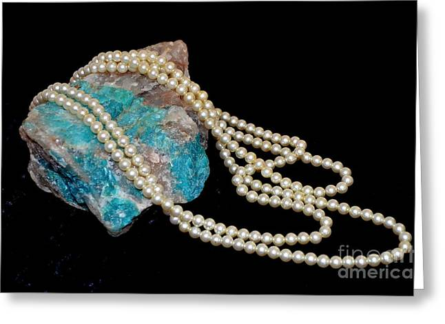Chrysocolla And Pearls Greeting Card by Mary Deal