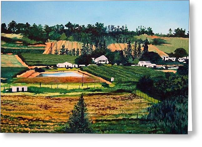 Greeting Card featuring the painting Chubby's Farm by Tim Johnson