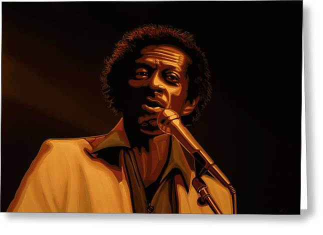 Chuck Berry Gold Greeting Card by Paul Meijering