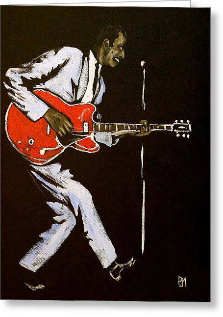 Chuck Berry Greeting Card by Pete Maier