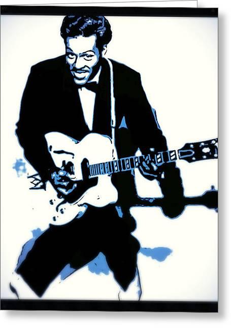 Chuck Berry Rock N Roll Greeting Card by John Springfield