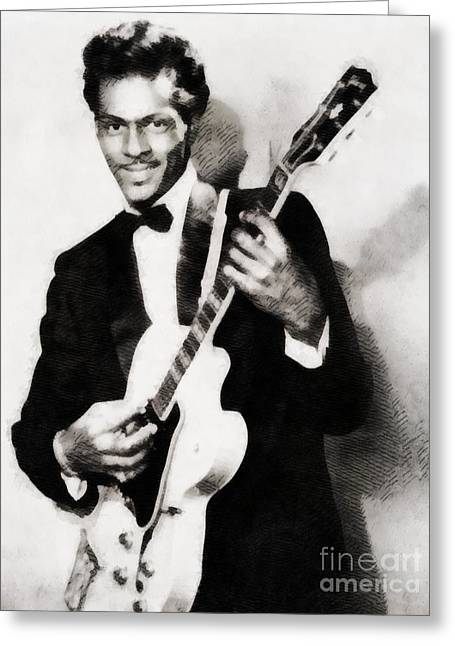 Chuck Berry, Vintage Music Legend Greeting Card by John Springfield