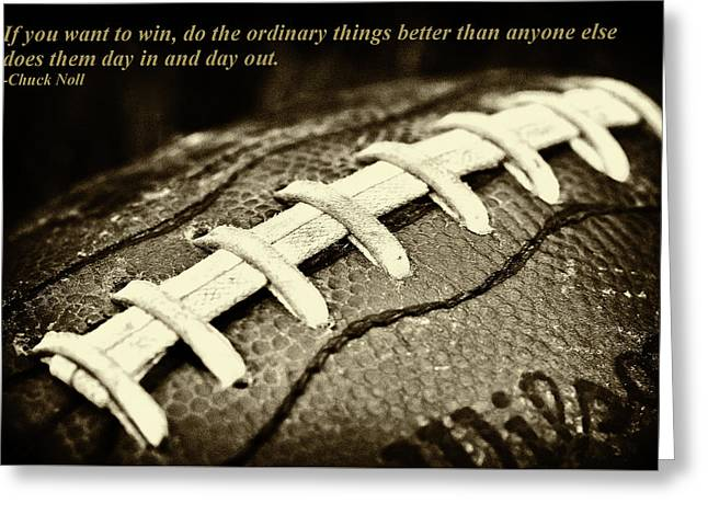 Chuck Noll - Pittsburgh Steelers Quote Greeting Card by David Patterson