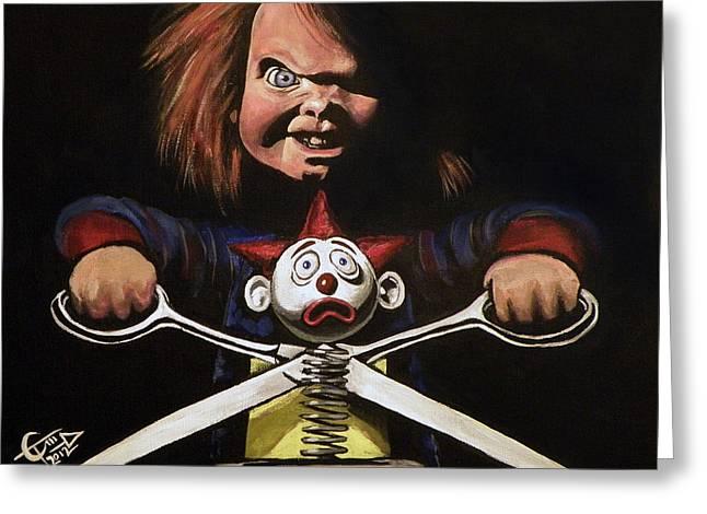 Chucky Greeting Card by Tom Carlton