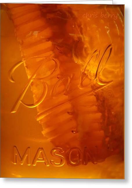 Chunk Honey In A Ball Jar Greeting Card by Chris Berry
