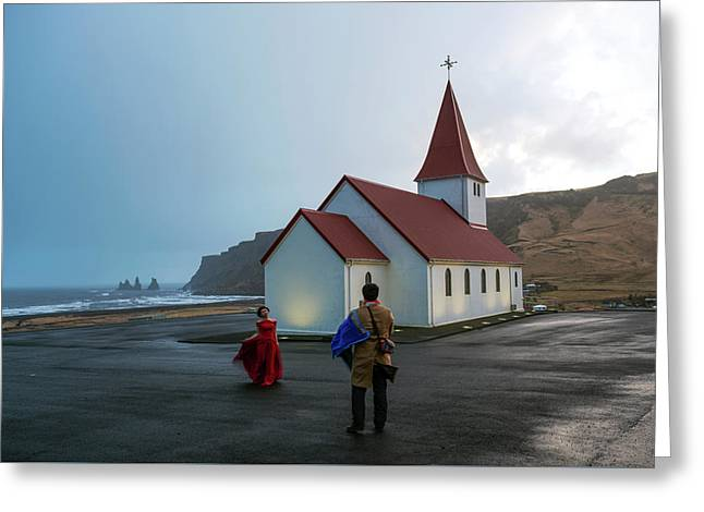 Greeting Card featuring the photograph Church Above Reynisfjara Black Sand Beach, Iceland by Dubi Roman