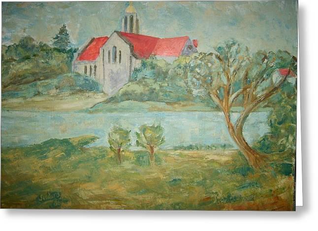 Church Across River Greeting Card by Joseph Sandora Jr