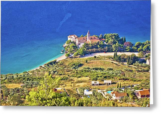 Church And Beach In Bol Aerial View Greeting Card
