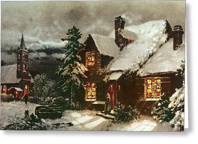 Church And Cottage With Lighted Windows Greeting Card