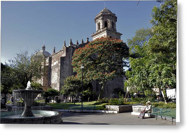 Church And Fountain Guadalajara Greeting Card by Jim Walls PhotoArtist