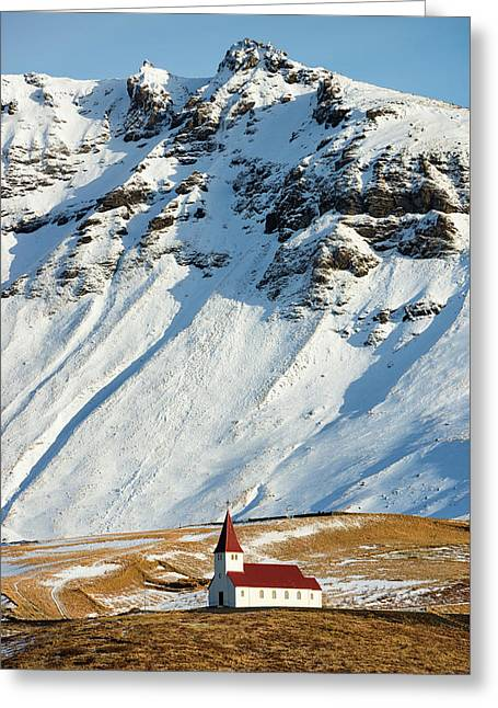 Greeting Card featuring the photograph Church And Mountains In Winter Vik Iceland by Matthias Hauser