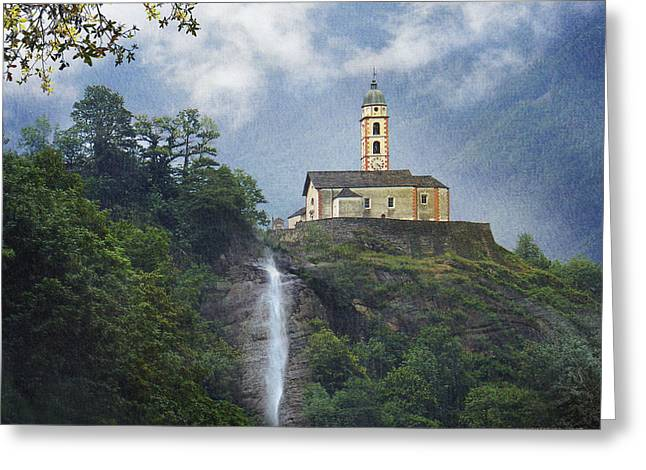 Church And Waterfall In Italy Greeting Card