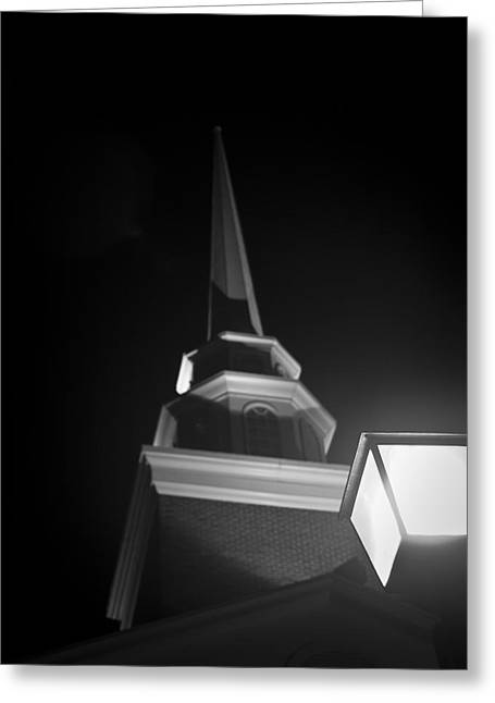 Church By Lamplight Greeting Card