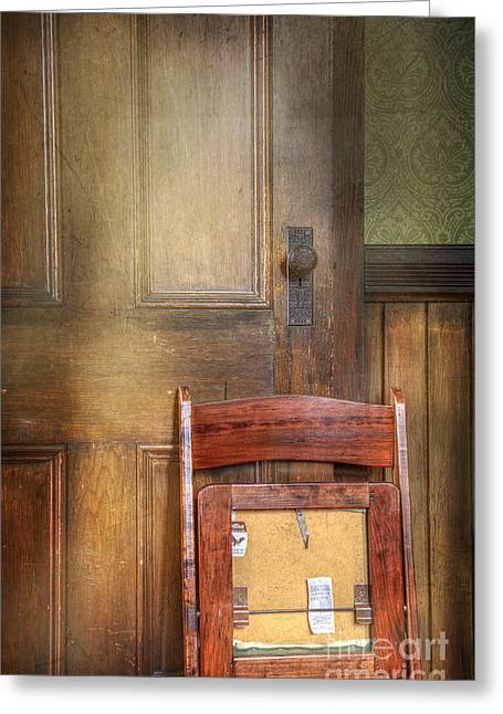 Church Chair Greeting Card by Craig J Satterlee