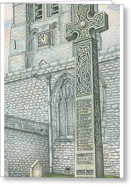 Church Clock Greeting Card by Sandra Moore