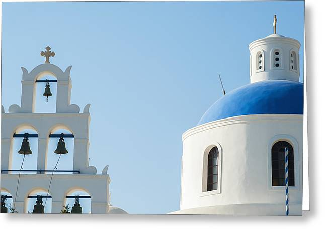 Church Domed Roof And Bells  Oia Greeting Card by Dosfotos