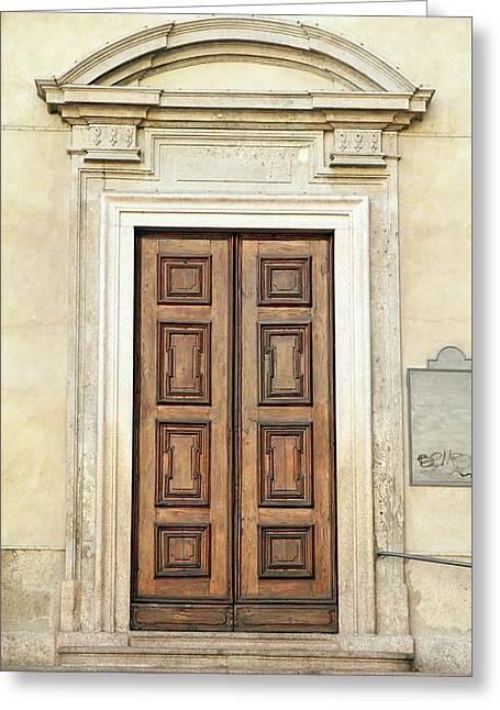Church Door Greeting Card by Valentino Visentini