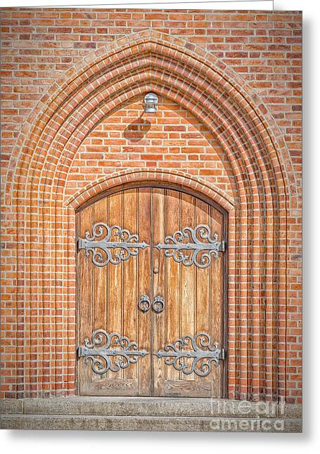 Church Doors In Helsingor Greeting Card by Antony McAulay